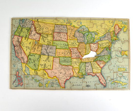 r e s e r v e d Vintage Puzzle Map United States Map Childs