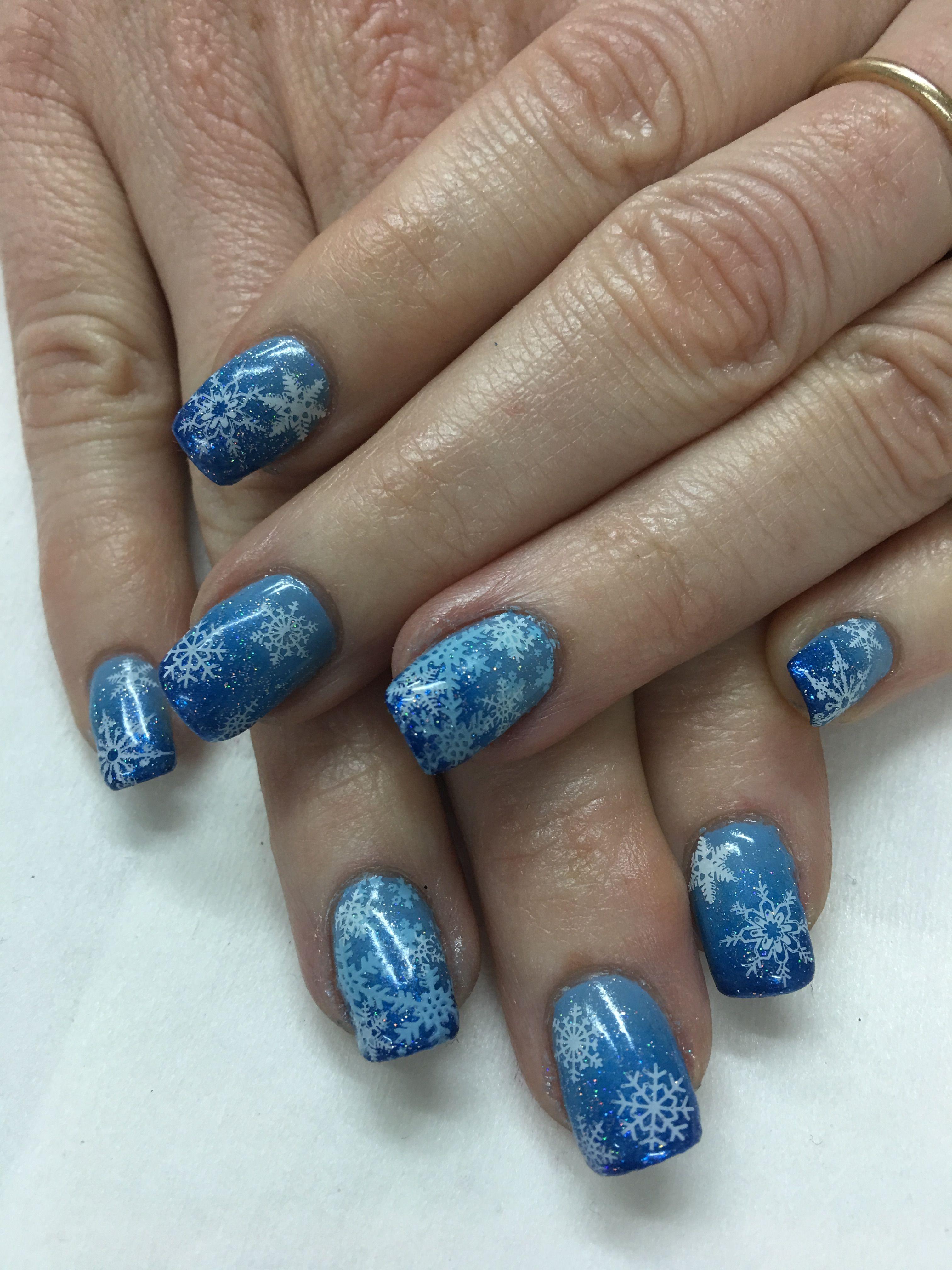 Blue Ombré Snowflake Glitter Gel Nails   Gel Nail designs   Pinterest