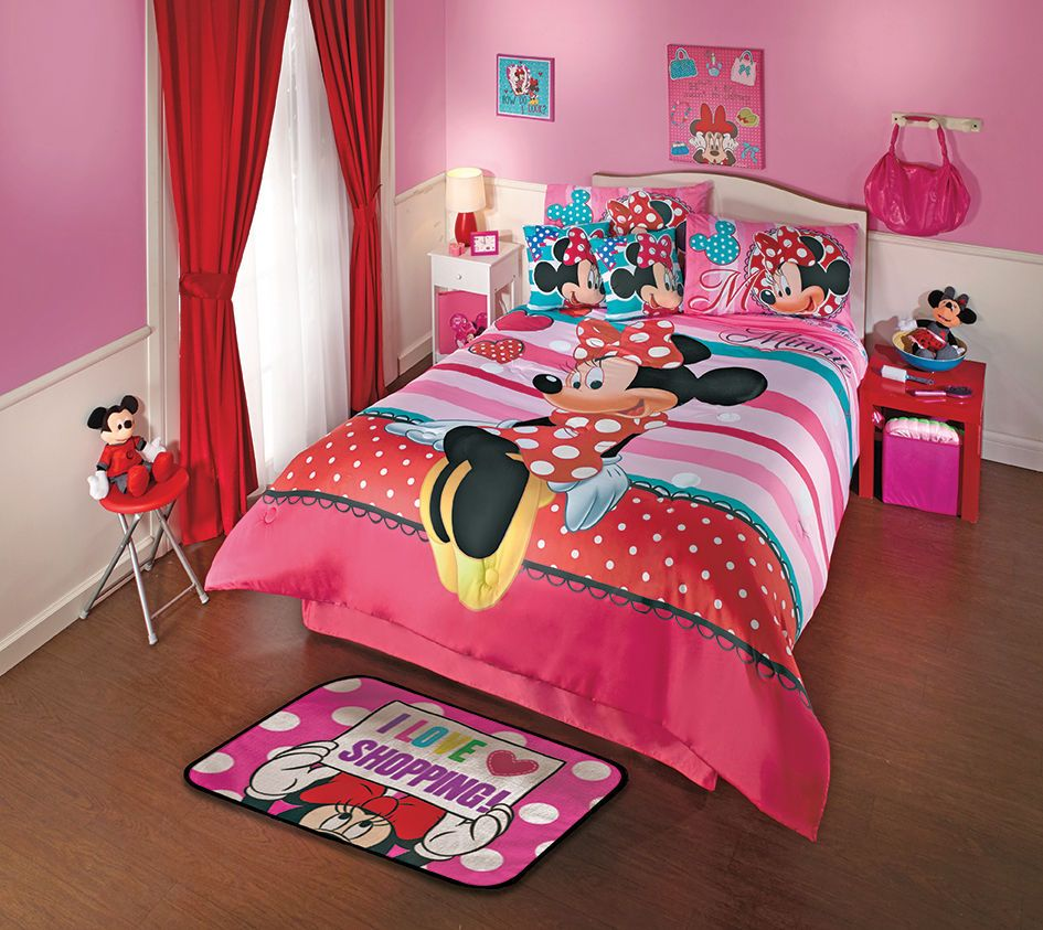 Details about New Disney Minnie Mouse Love Pink Comforter ...