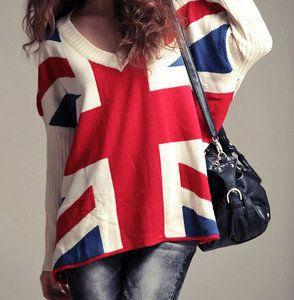 Union Jack Slouchy Soho Chic Sweater