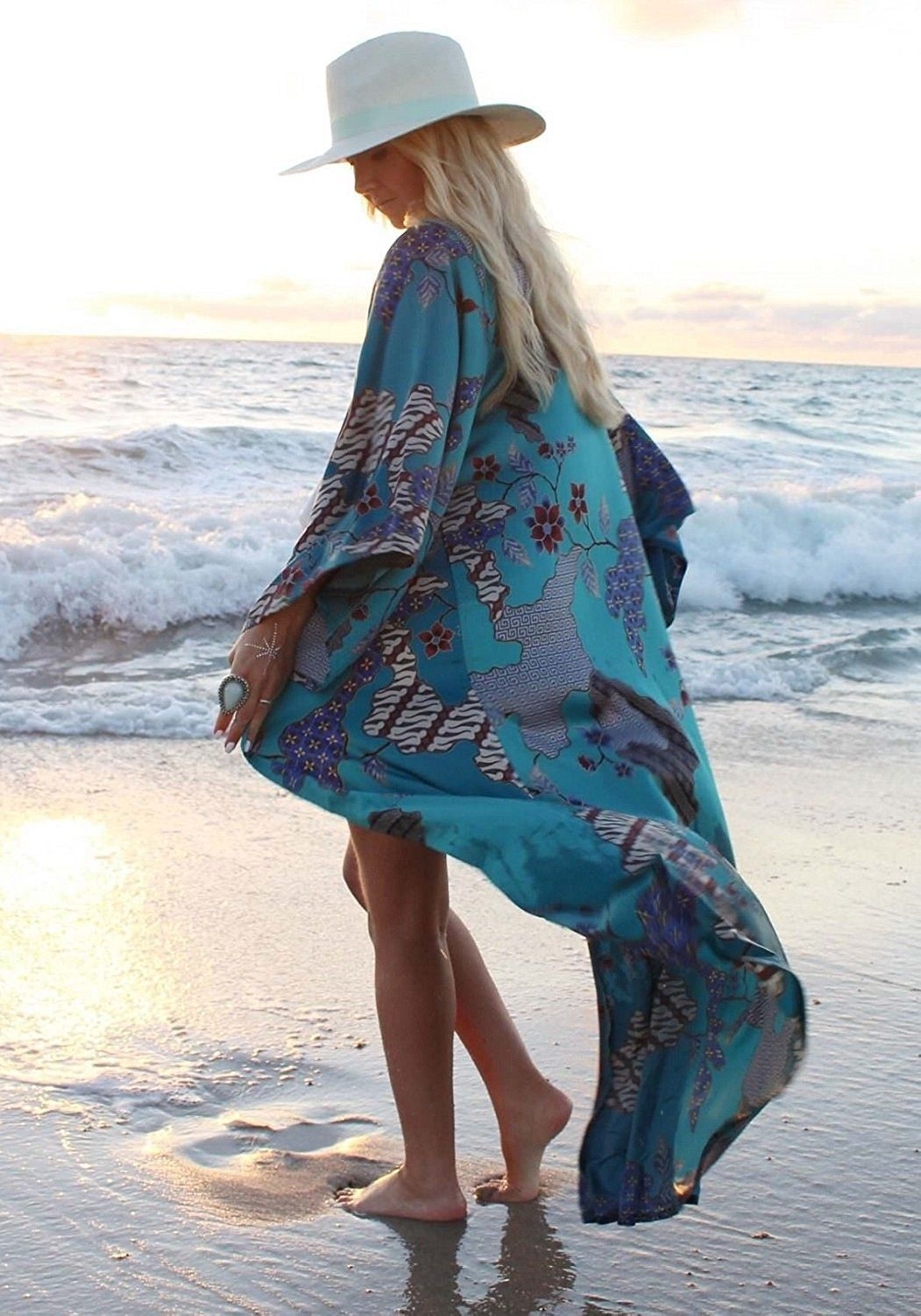 ab6d404f1afd3 Floral Season Women Casual Loose Chiffon Long Kimono Cardigan Cover up  Outwear at Amazon Women's Clothing