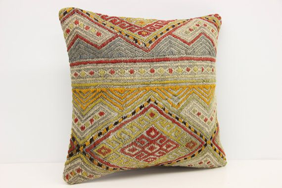 Turkish Kilim pillow cover 16x16 inches Handwoven by stripepattern