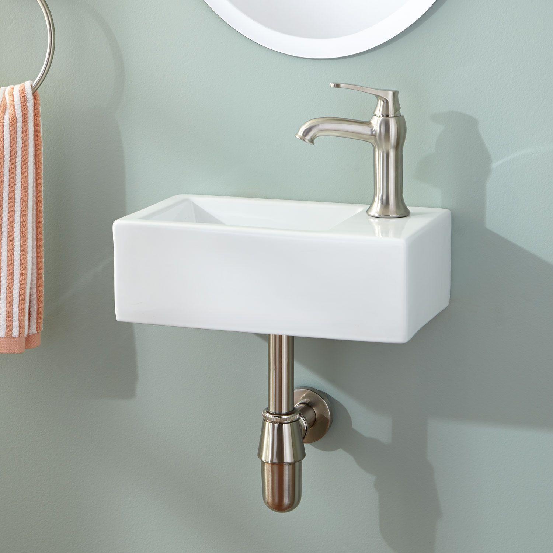 Corrie Mini Porcelain Wall Mount Bathroom Sink Small Bathroom Sinks Very Small Bathroom Tiny Bathroom Sink