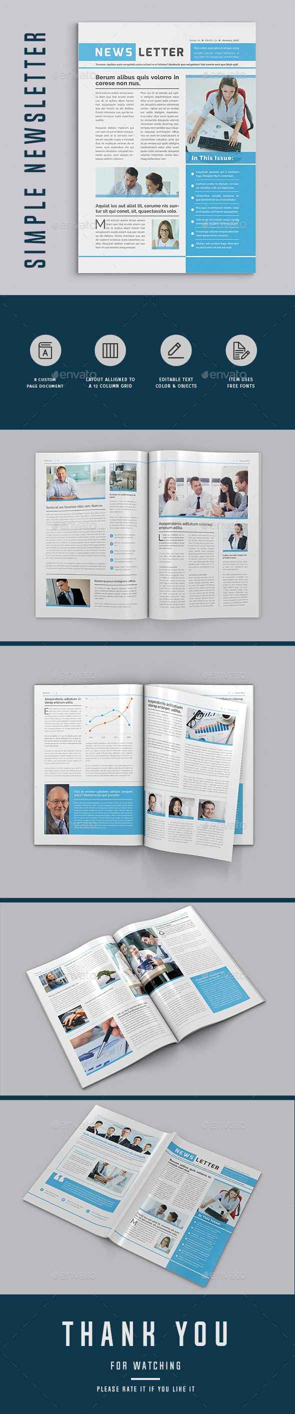 Newsletter By Upra Modern Template A 8 Page InDesign Company Business