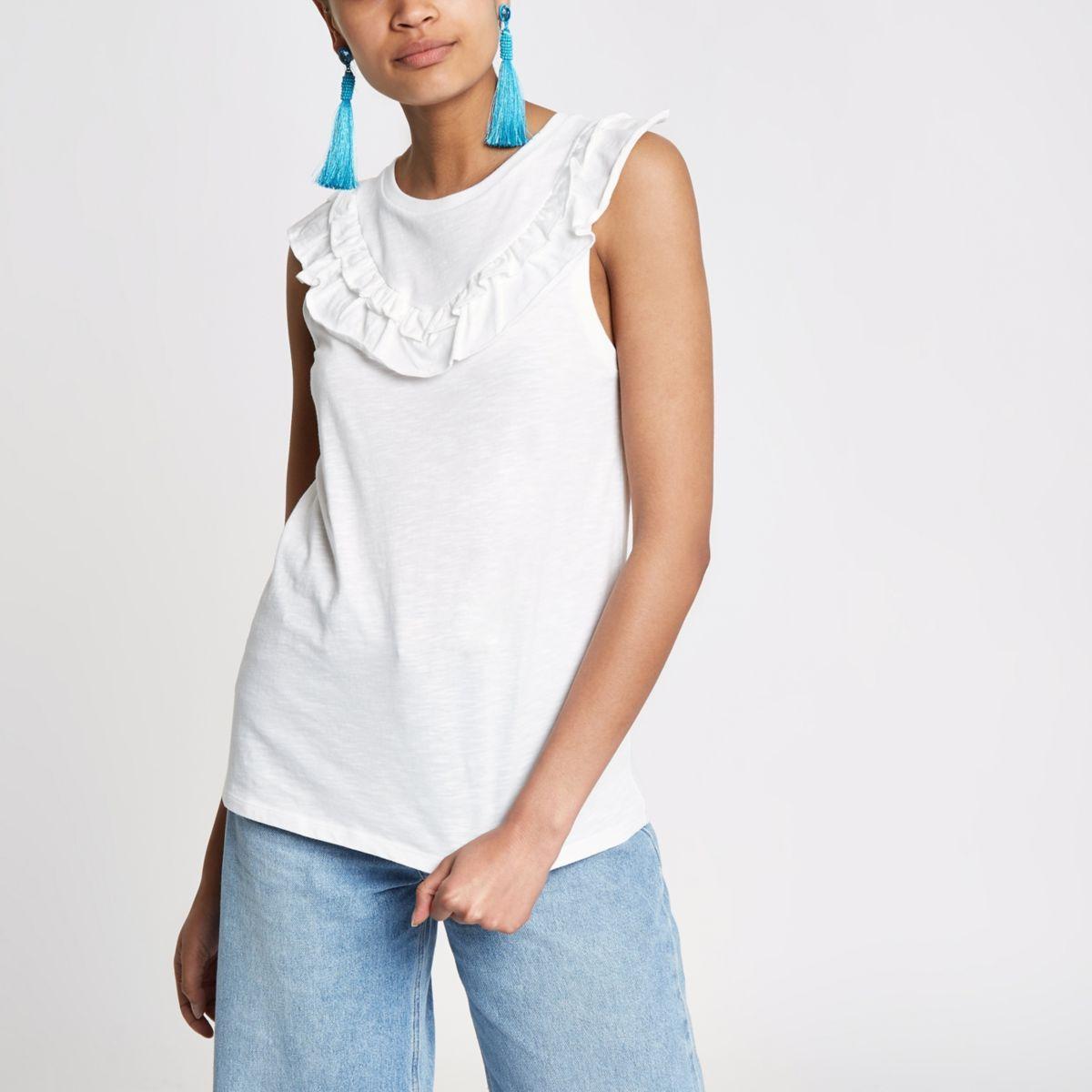3d2f9d4e089b0 White frill bib sleeveless T-shirt