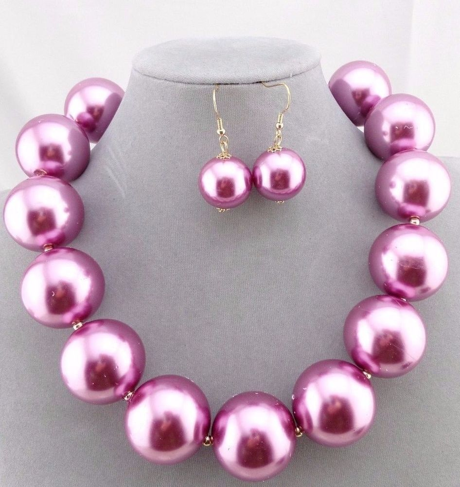 Chunky Purple  Pearl Necklace Earrings Set Gold Fashion Jewelry NEW #3DCube