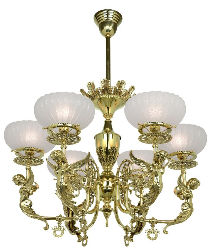 Victorian Gas Ceiling Light Reproduction Antique Chandelier Circa 1890 Is  Solid Brass With Goddess Figures. Charming Design Victorian Light Fixtures.
