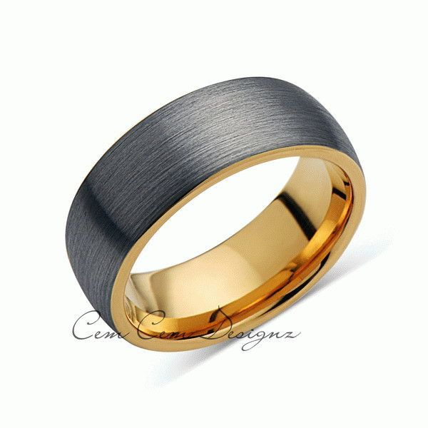 Yellow Gold Wedding Band Brushed Gray Tungsten Ring Unique Dome Tungsten Wedding Band Blue Tungsten Ring Gold Tungsten Ring Tungsten Wedding Rings