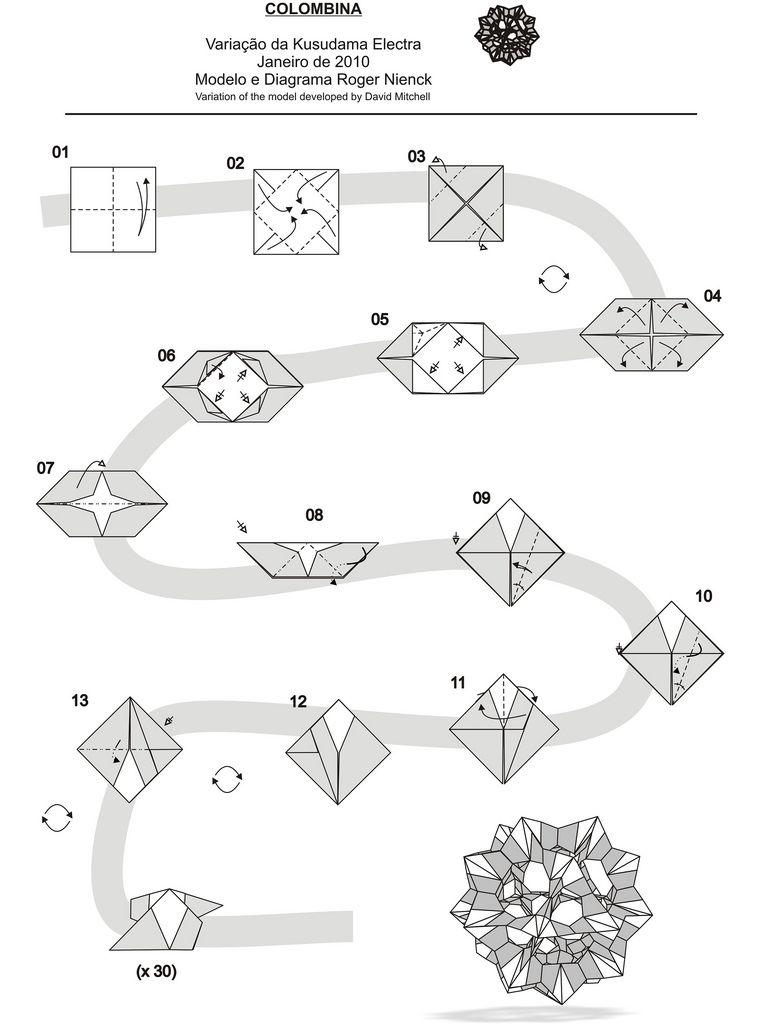 Diagram Electra  Colombina | Kusudama | Origami, Origami