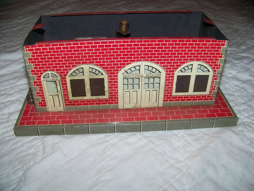 vintage / antique metal train station, building, electrical parts, missing roof