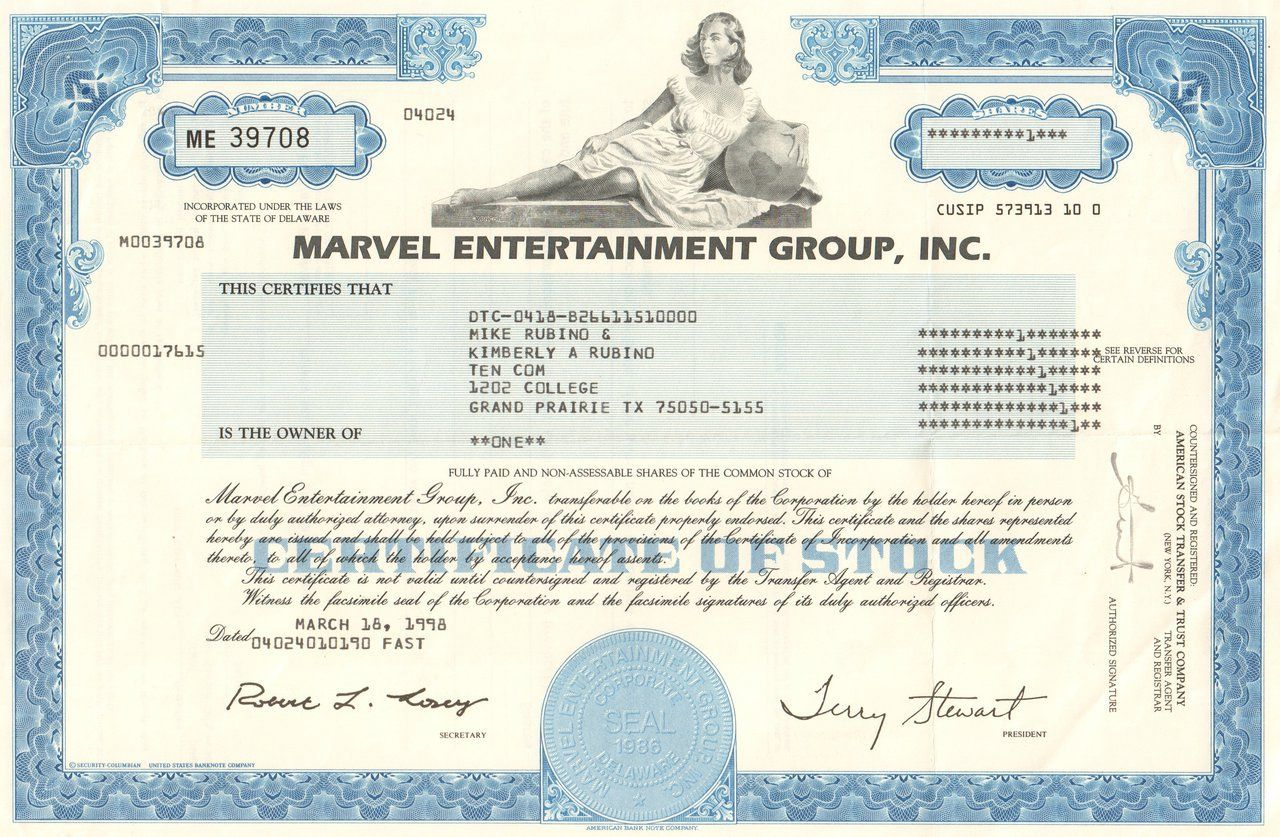 Marvel entertainment group inc stock certificate 1998 comic great comic book colelctible marvel entertainment group inc stock certificate the company is ow part of disney 1betcityfo Choice Image