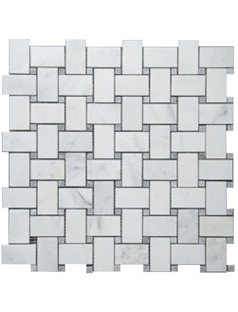 1 In X 2 In Bianco White Carrara Polished Finish Basketweave With Grey Dot Marble Mosaic Tile Basket Weave Tile Carrara Marble Tile Carrara Marble