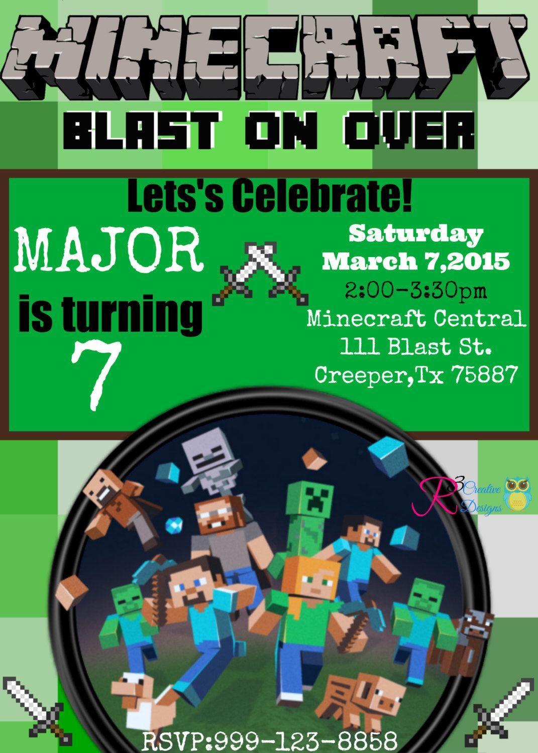 Minecraft Inspired Party Invitation by R3CreativeDesigns on Etsy https://www.etsy.com/listing/215057206/minecraft-inspired-party-invitation