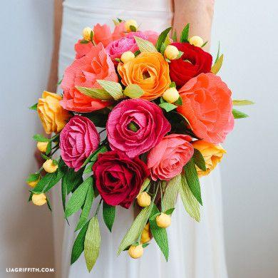 Diy Rustic Paper Bridal Bouquet Paper Flowers Wedding Paper