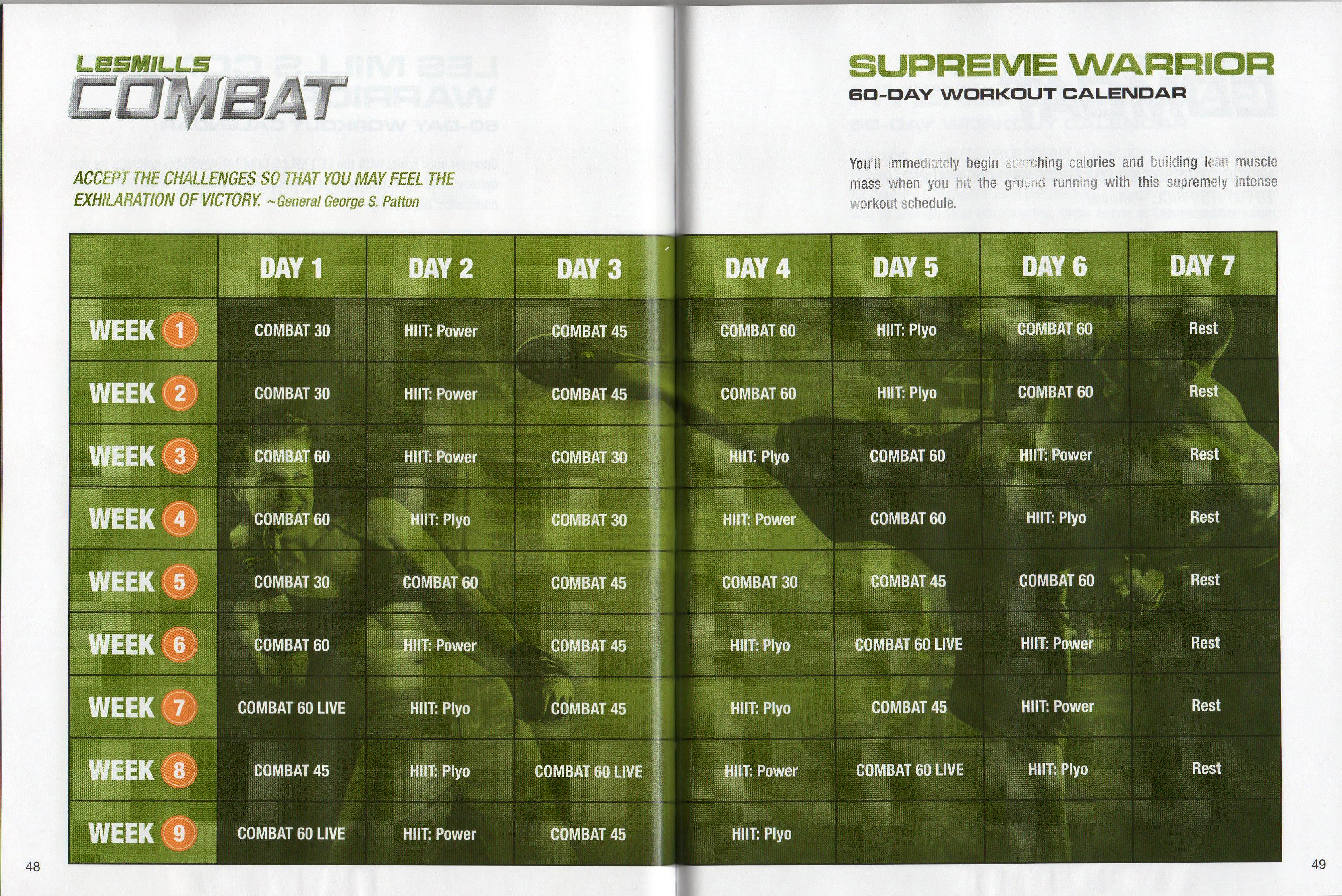 Les Mills Combat ~ 02 ~ 60 Day Supreme Warrior Calendar