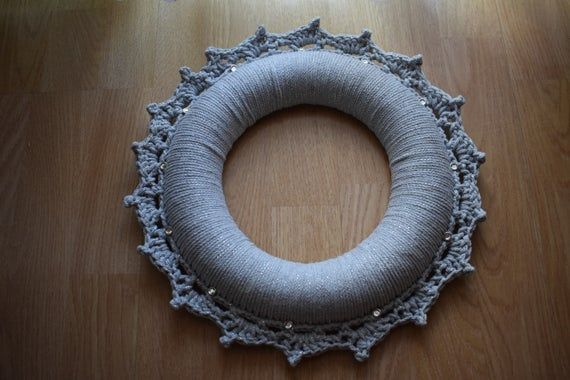 Photo of Christmas Door crochet wreath Handmade Grey and silver around 36cm.