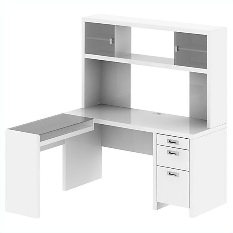 Lowest Price Online On All Kathy Ireland Office By Bush Furniture New York Skyline L Shape Desk With Hutch Set In Plumeria White