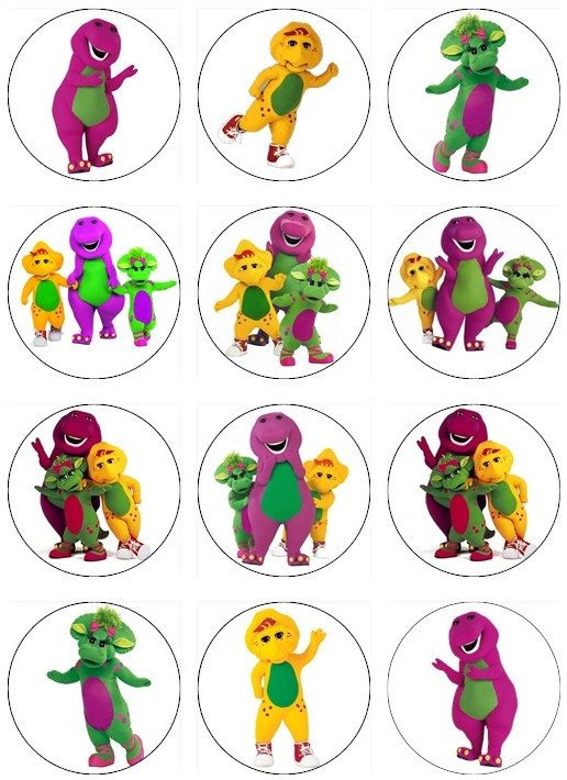 Remarkable Edible Barney Cupcake Toppers 12 Edible Images For Cupcakes Personalised Birthday Cards Xaembasilily Jamesorg