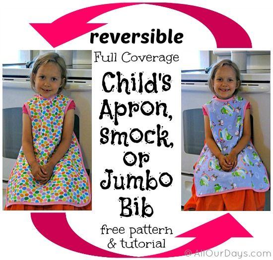 Reversible, Full-Coverage Child's Apron, Smock or Jumbo Bib {Free Pattern & Tutorial}