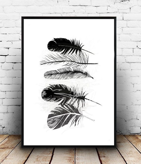 Minimalistic Feathers Boho Art Painting Room Decor Typographic Print  Drawing Wall Decor Framed Quotes Bedroom Poster Tumblr Room Decor 8x10