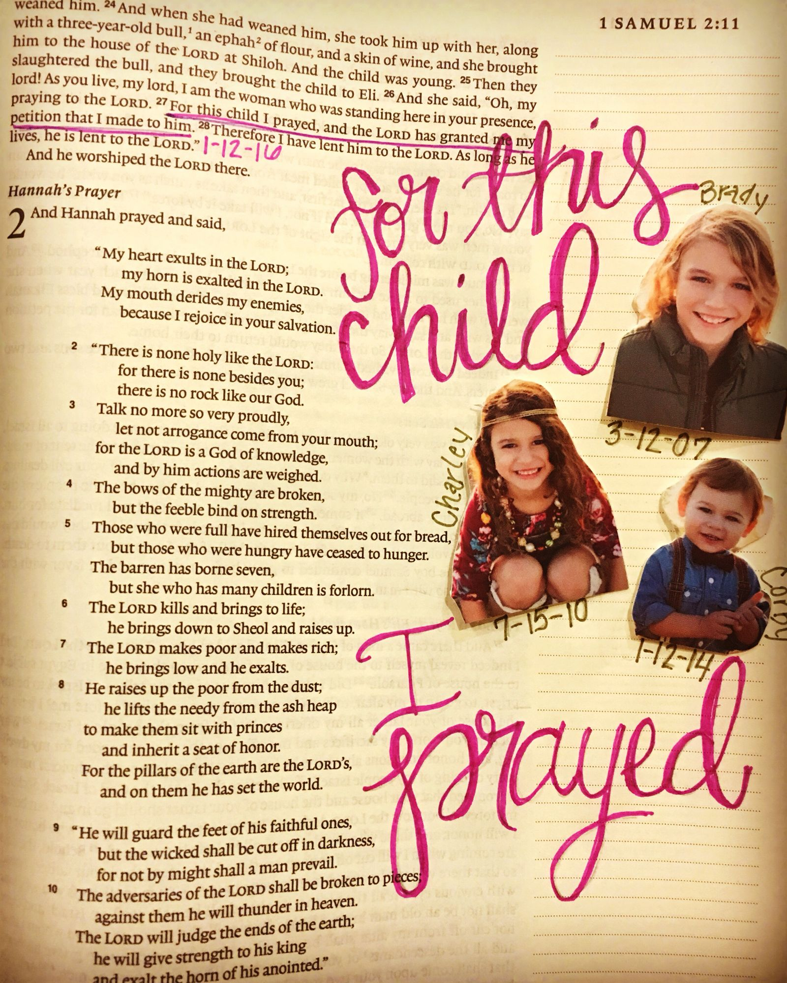for this child i prayed 1 samuel 1 27 bible journaling ig