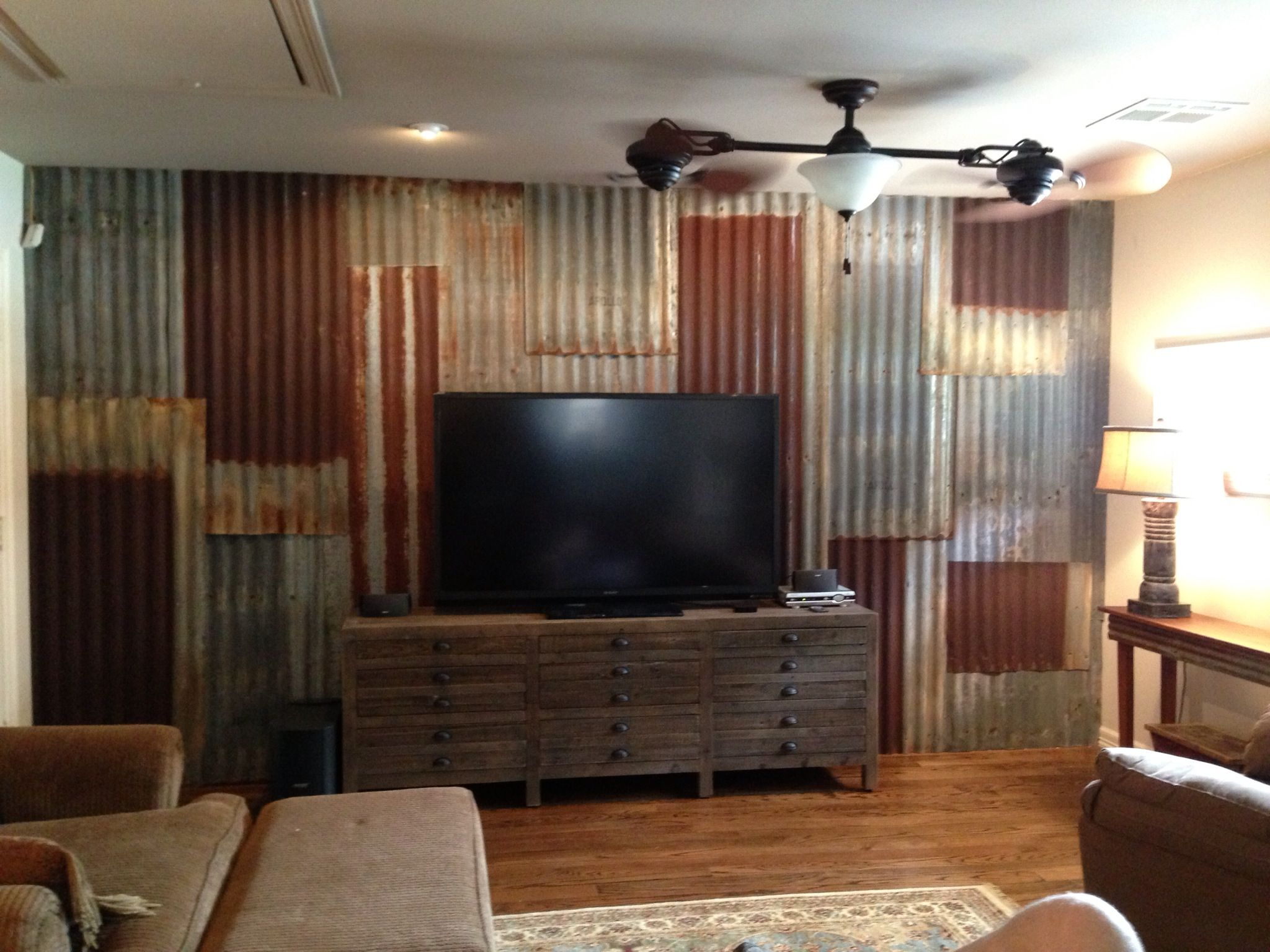 Look what my family helped me do with corrugated tin i for Metal barn over basement