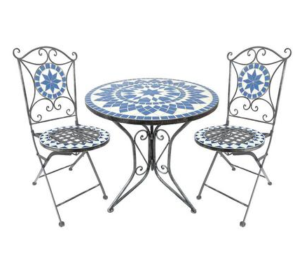 Dunelm Mill Blue Mosaic Chair & Table Set | Oh to be in my garden ...