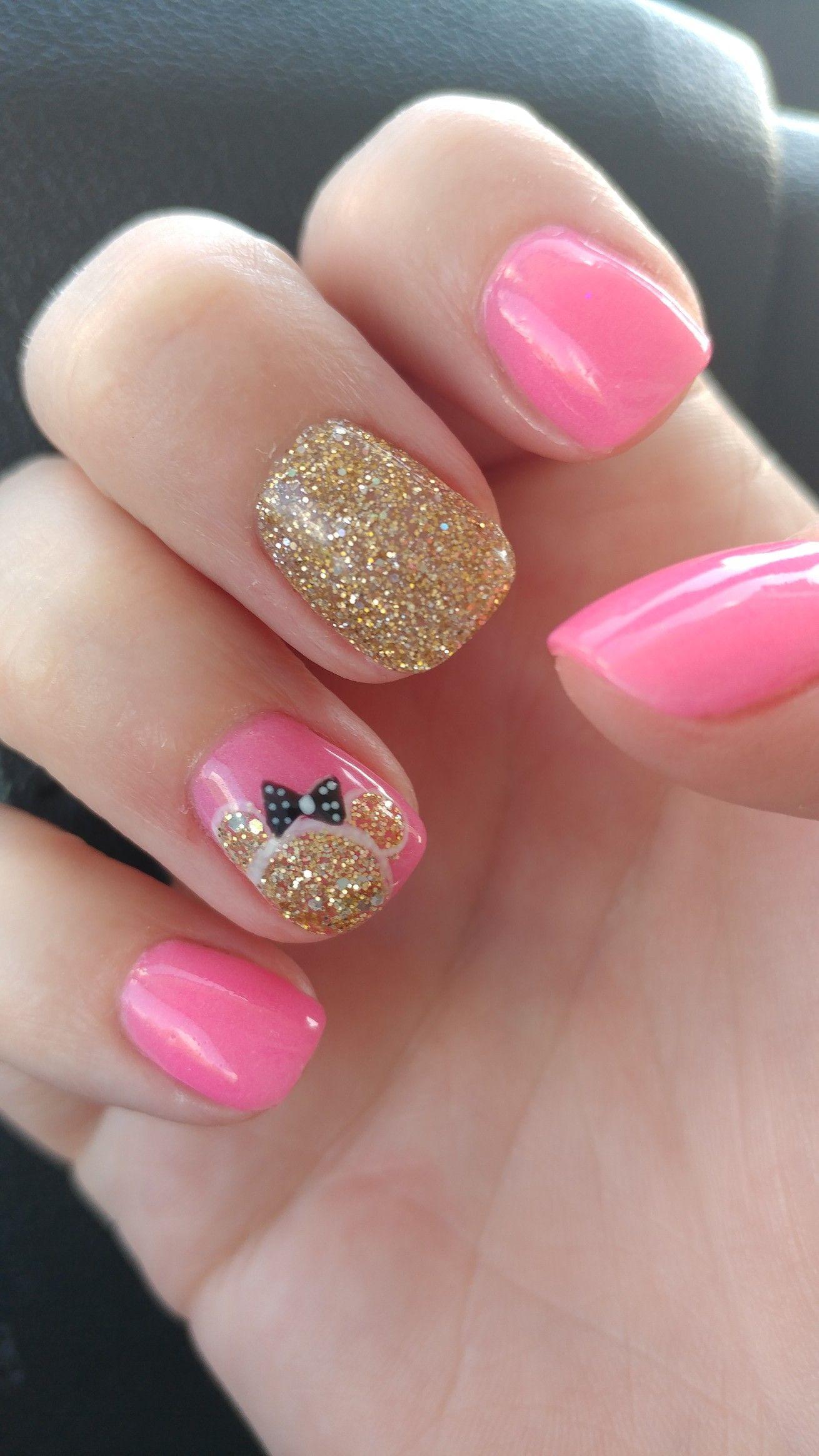 Pink And Gold Minnie Mouse Nail Art Mickey Nagel Nageldesign Disney Kreuzfahrt Nagel