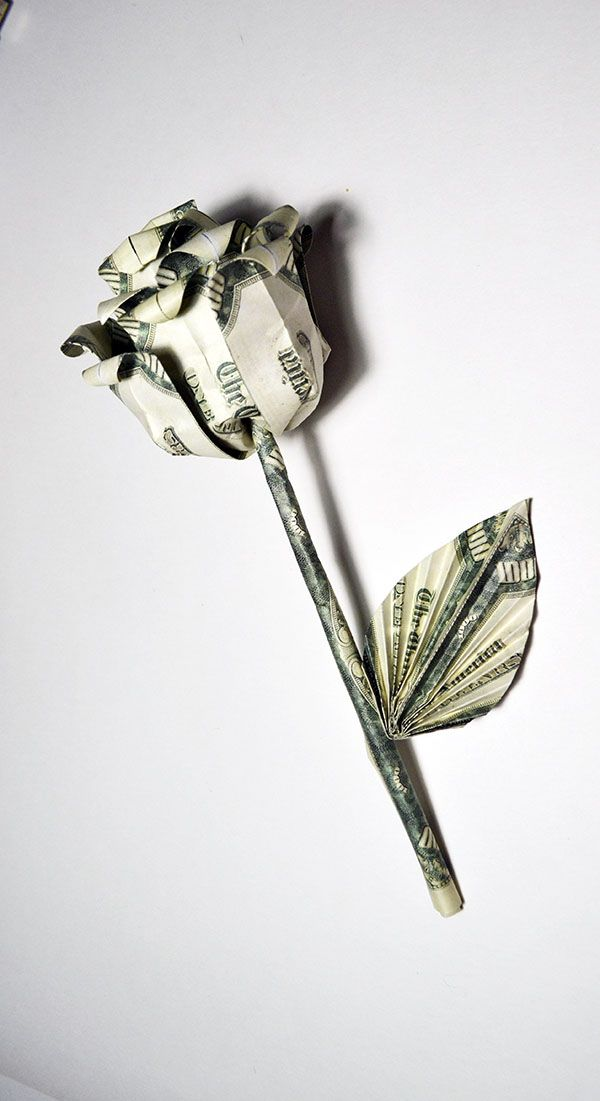 Beautiful Money Rose With Stem And Leaf Origami Flower Dollar