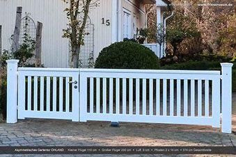 Asymmetrisches Gartentor Ohland - Holztor weiß