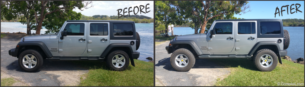 before and after pics of jeep wrangler with 2 5 inch aev lift silver pintler wheels coopers st. Black Bedroom Furniture Sets. Home Design Ideas