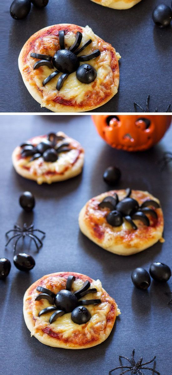 Mini Spider Pizzas Click Pic for 20 Healthy Halloween Snack Ideas - halloween treat ideas