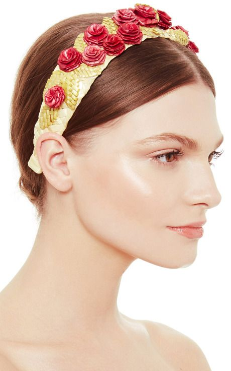 Straw Headband With Red Roses by Masterpeace Now Available on Moda Operandi
