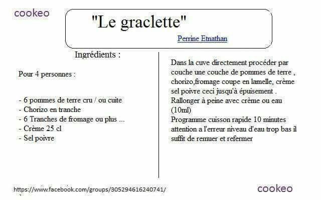 graclette cookeo recette recette
