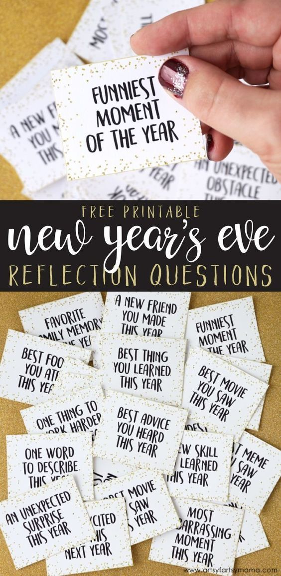 Free Printable New Year's Eve Reflection Questions Kids