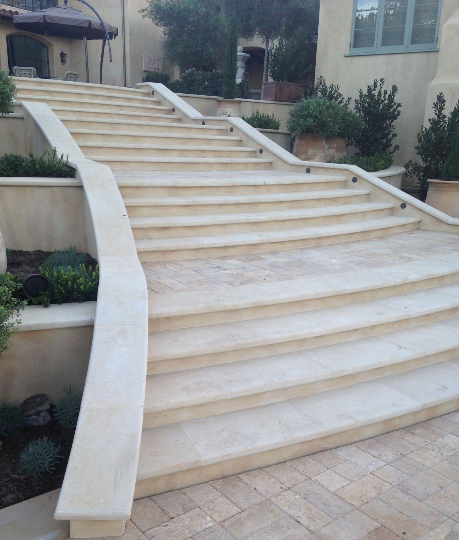 Kansas Limestone Custom Fabricated Exterior Stair Treads | Outdoor Stone Stair Treads | Deck | Curved | Backyard | Unique | Stone Veneer