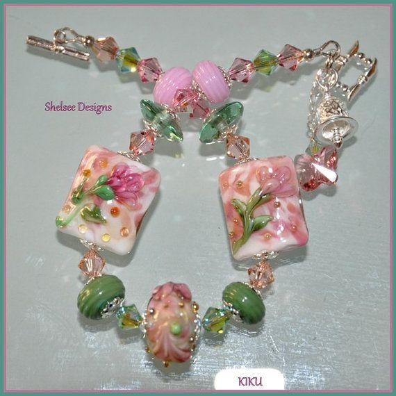 murano glass transparent glass beads lampwork beads bride Matte Bridal beads glass flower jewelry making flamework wedding floral