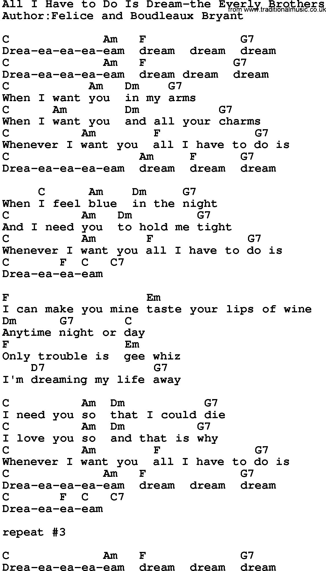 All i have to do is dream everly brothers quotes pinterest country musicall i have to do is dream the everly brothers lyrics and chords hexwebz Image collections