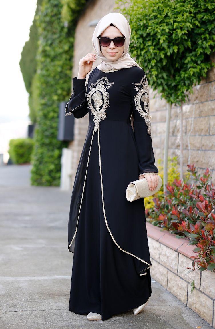 Sefamerve Tesettur Gupurlu Abiye Modelleri Elbise Siyah Abiye Moda Stilleri