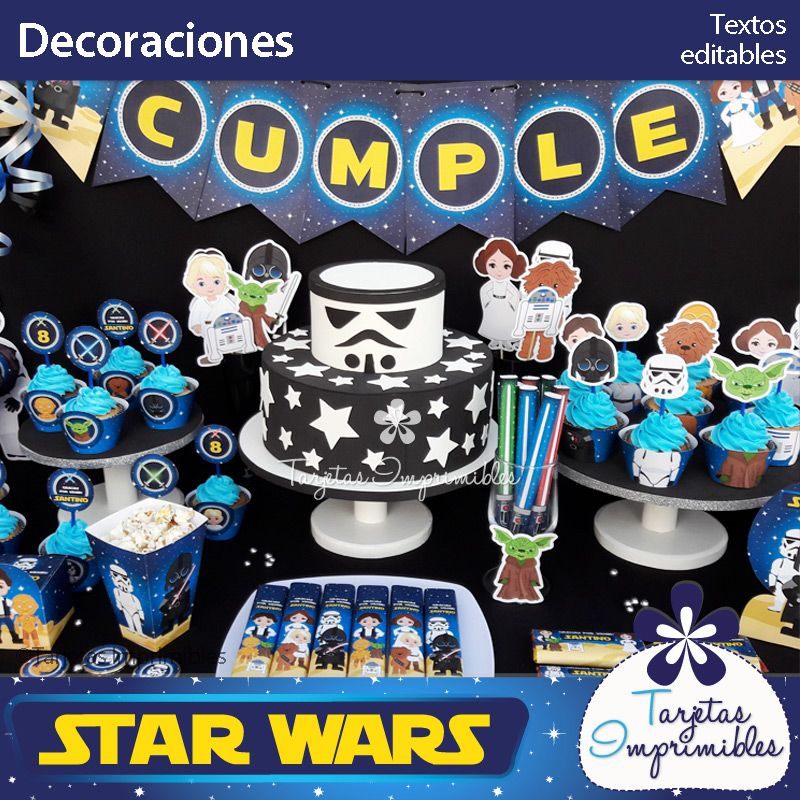 Star wars kit de decoraciones tarjetas invitacion for Decoracion star wars