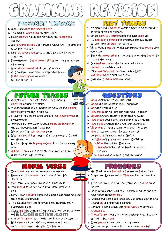 Grammar Revision Present Past Future Tenses Questions Modal Verbs Pronouns Teaching English Grammar English Grammar English Grammar Worksheets [ 1440 x 1018 Pixel ]