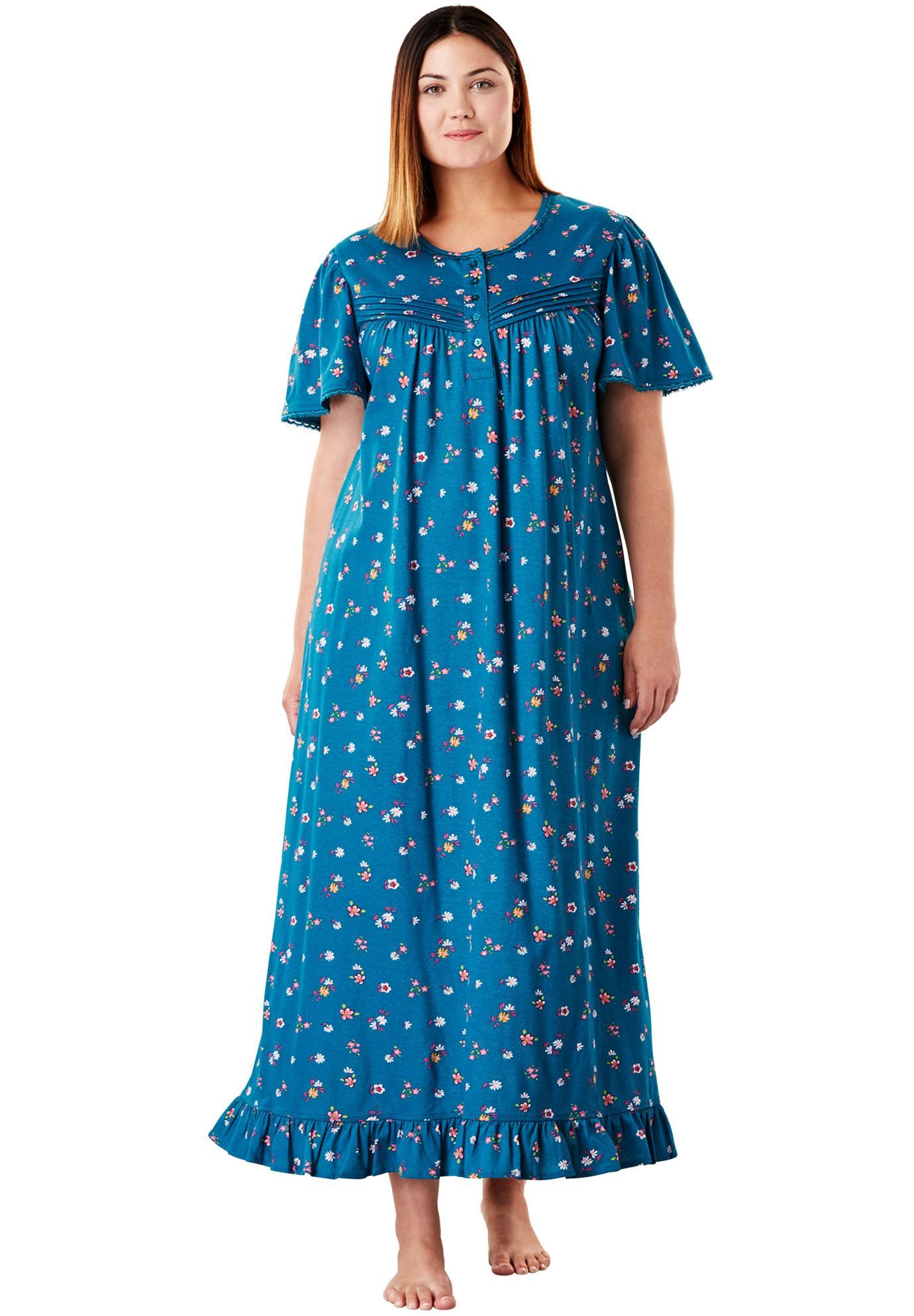Long Cotton Gown by Dreams & Co - Women\'s Plus Size Clothing ...