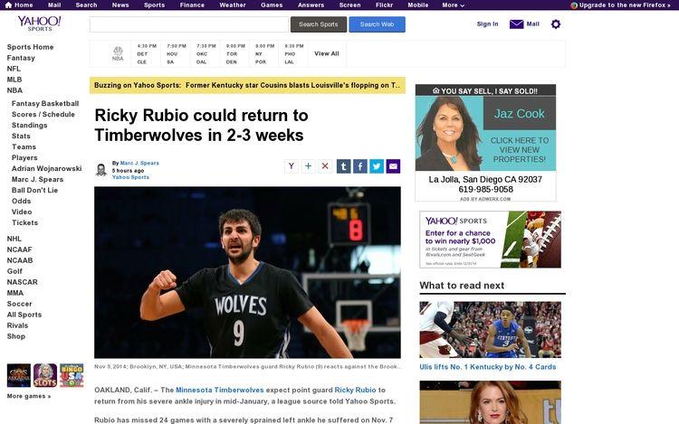 Real Estate Marketing in Yahoo Sports online for La Jolla