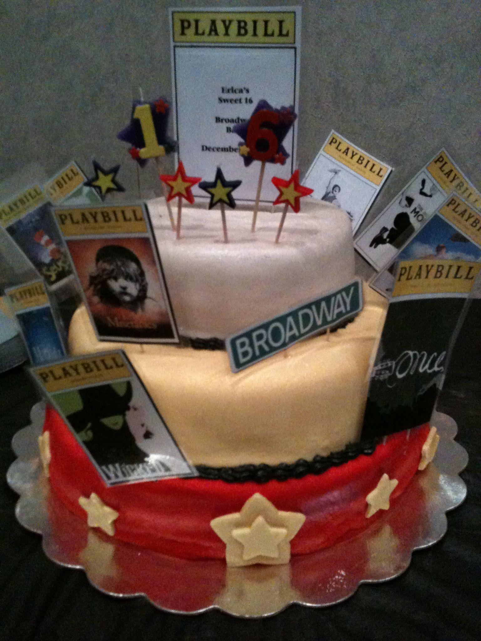 Ericas Sweet 16 Broadway Themed Cake