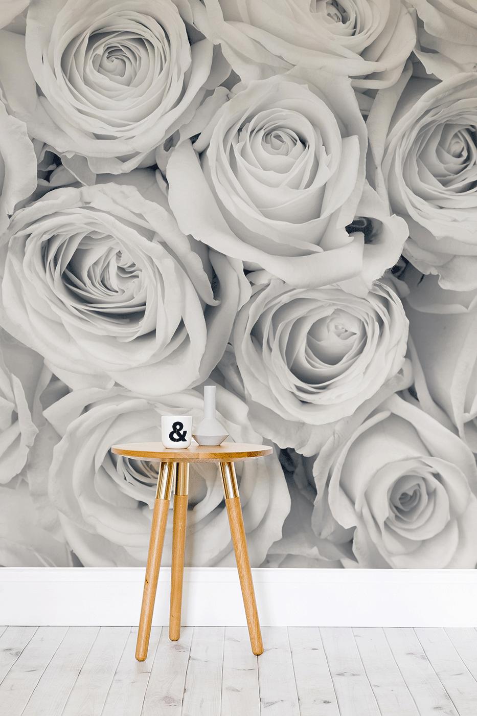 Best Rose Mural Wallpaper Large White Roses Wallpaper 400 x 300