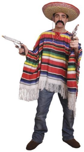 Mexican Poncho Sombrero Cigar Mexico Fancy Dress Costume Mens Stag Party Outfit