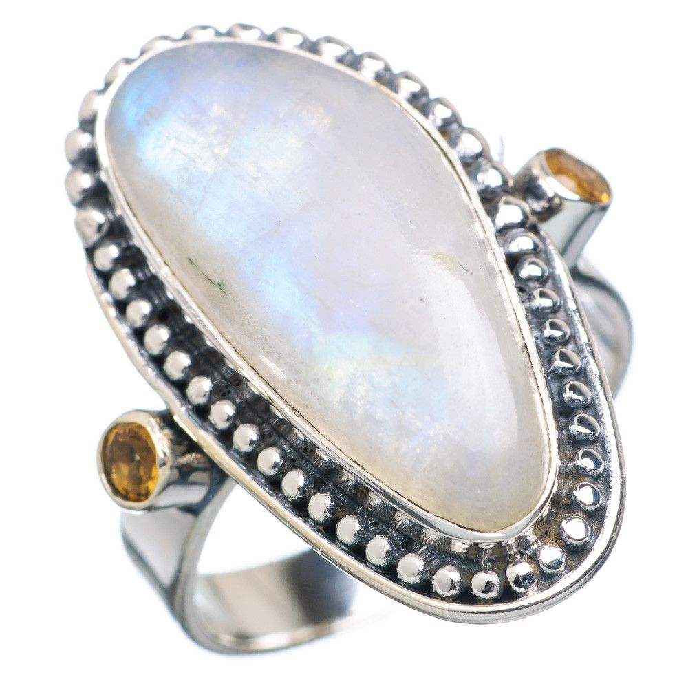Rainbow Moonstone, Citrine 925 Sterling Silver Ring Size 9 RING735686