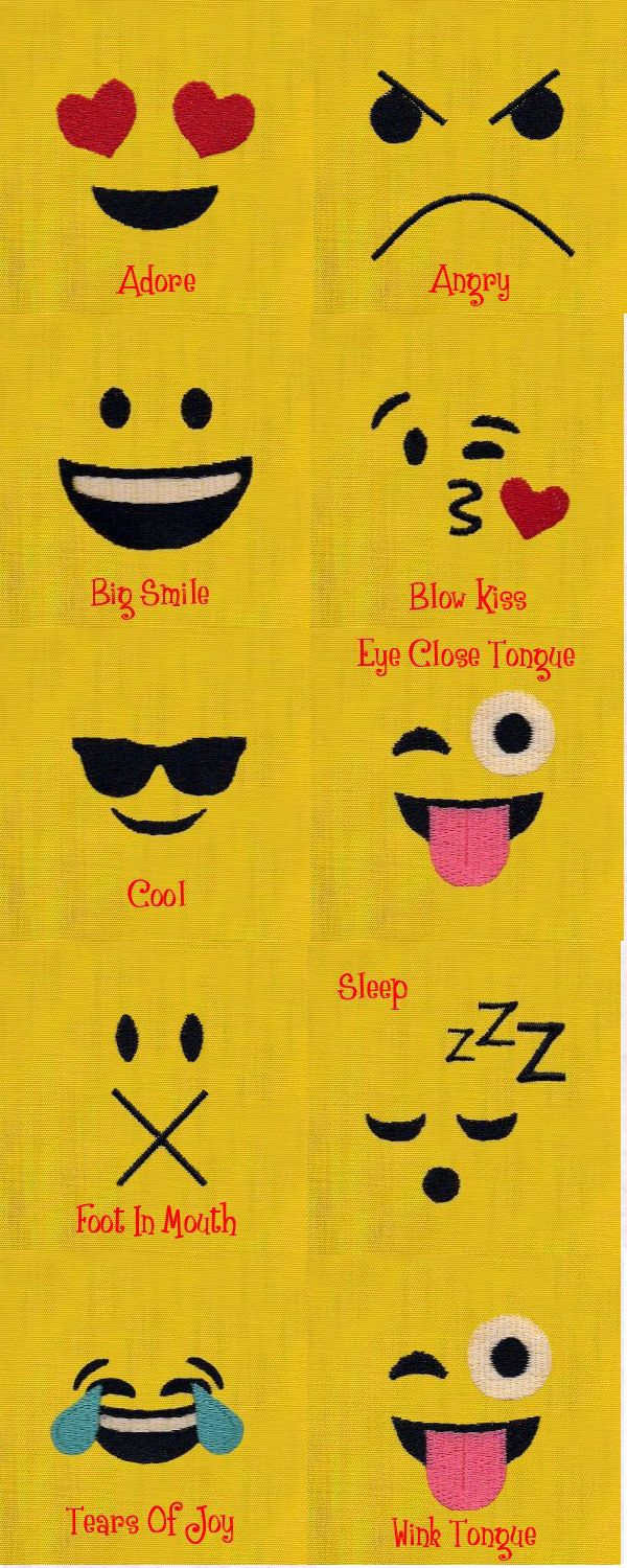 Emoji Faces Designsbysick Com 10 Designsall Fit The 4x4 Hoop Embroidery Designs Machine Embroidery Designs Sewing Embroidery Designs Machine Embroidery
