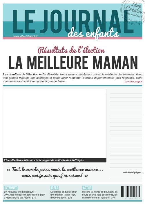 A Imprimer Une De Journal Special Fete Des Meres Fete Des Meres