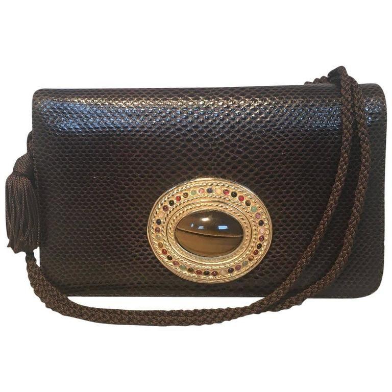 Judith Leiber Brown Lizard Leather Tiger Eye Stone Detail Clutch Shoulder Bag 1980